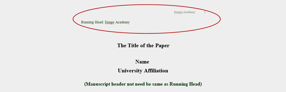 How To Write A Running Head